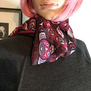Eleanor Paine Aesotica Tribal Head Silk Scarf